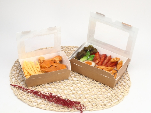 Corrugated lunch box with window